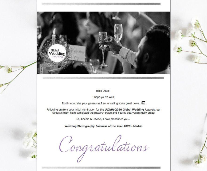 Enhorabuena por premio fotografía de bodas Lux Global Wedding 2020 Chema & Davinci
